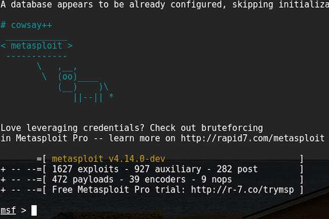 Metasploit est utilisable en lignes de commandes ou avec une interface graphique. (Crédit D.R.)