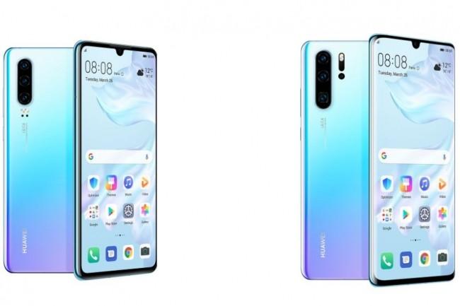 Deux modèles de smartphones P30 ont été annoncés par Huawei : le basique (à gauche) et son itération Pro. (crédit : Huawei)