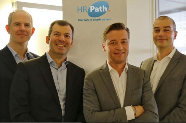 De gauche à droite : Antoine Le Bourgeois et François-Xavier Mauron, directeurs associés d'Andera Partners, ainsi que Cyril Courtin et François Boulet, fondateurs de HR Path. Crédit : HR Path.