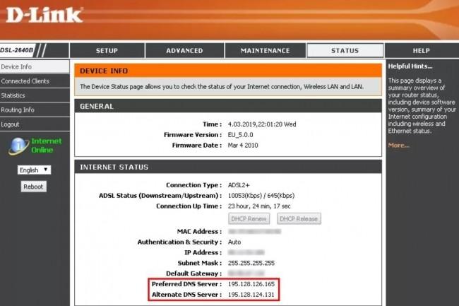 Exemple de routeur DSL-2640B D-Link compromis via une compromission de DNS configuré dans une campagne malveillante. (crédit : D.R.)