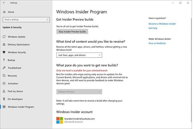 Pour s'inscrire au programme Windows Insider et accéder à la dernière mise à jour de l'OS, rendez-vous dans les paramètres de Windows. (Crédit : Microsoft)