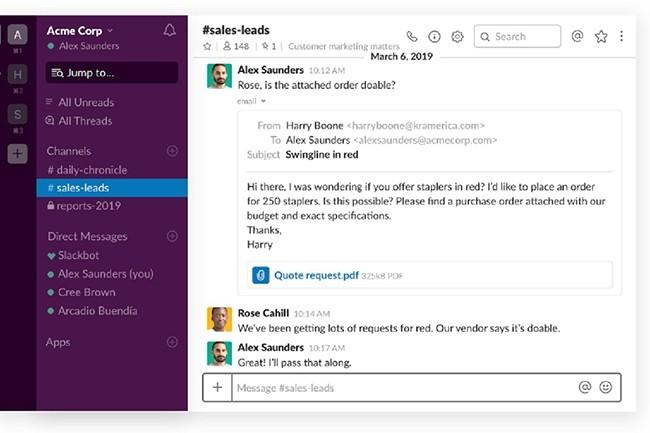 Il est désormais possible d'envoyer un email Outlook depuis Slack et de répondre par email à une conversation Slack. (Crédit : Slack)