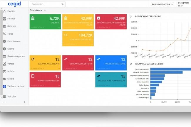 Outre la comptabilité/finance et la gestion commerciale, l'ERP cloud XRP Flex de Cegid vient avec les tableaux de bord nécessaires aux contrôleurs de gestion. (Crédit : Cegid)