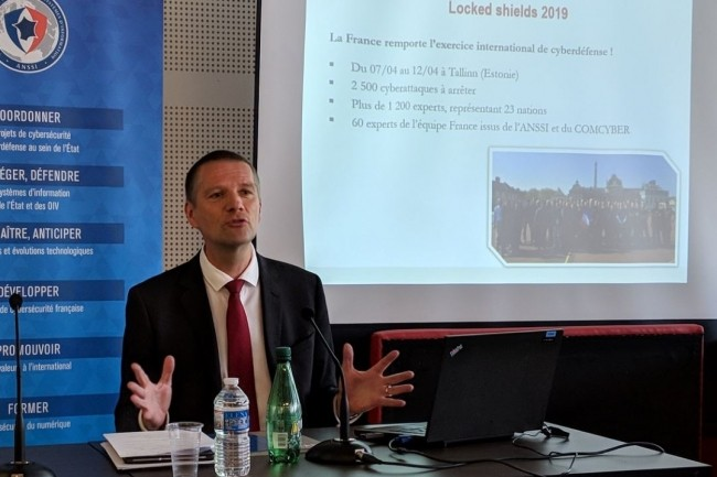 Guillaume Poupard, délégué général de l'ANSSI, à l'occasion de la présentation à la presse du rapport annuel 2018 de l'agence à Paris lundi 15 avril 2019. (Crédit : D.F.)