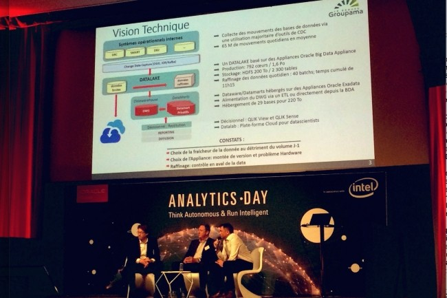 Intervenant sur l'Oracle Analytics Day, Pascal Desseaux (au milieu), responsable des infrastructures big data de l'entité Support et Services de Groupama, et Antoine Hacquard (à droite), responsable division architecture et urbanisme. (Crédit : Oracle)