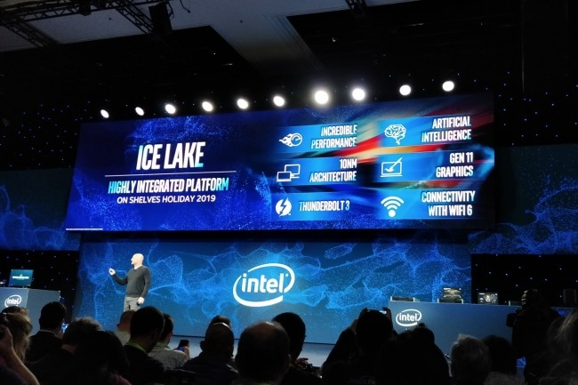 Présentation de la plateforme Ice Lake au dernier CES de Las Vegas, en janvier 2019. (Crédit : Mark Hachman / IDG)