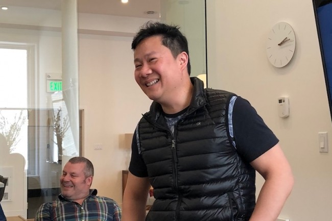 Kaycee Lai, CEO et fondateur de Promethium, lors de son point presse à San Francisco chez son VC. (Crédit S.L.)