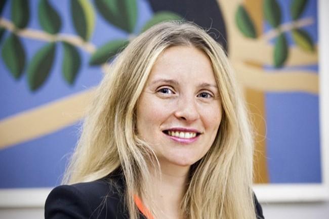 Claire Calmejane, Group Chief Innovation Officer du groupe Société Générale, anime les process d'innovation d'un groupe présent dans 67 pays. (Crédit : Alexia Perchant)