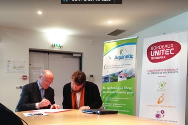 Alain Rousset, président du Conseil régional de la Nouvelle-Aquitaine et d'Unitec et François Pellegrini, président d'Aquinetic lors de l'annonce de l'appel à candidatures Crédit. D.R.