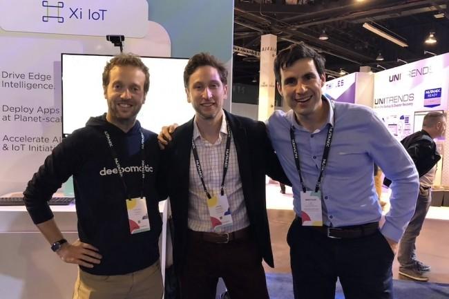 A Los Angeles, nous avons rencontré l'équipe de Deepomatic : Vincent Delaitre, cofondateur et CTO, Jess Mouallek (bureau de NY) et Augustin Marty, Cofondateur et CEO (de G à D). (Crédit S.L)