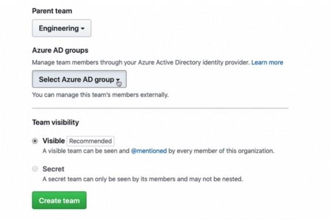 Depuis Github, on pourra bientôt synchroniser la gestion d'accès des équipes avec les groupes Azure AD. (Crédit : Github)