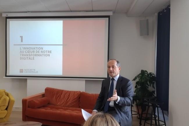 Frédéric Oudéa, directeur général du groupe Société Générale, a insisté sur l'importance du programme Internal Startup Call. (Crédit : Bertrand Lemaire)