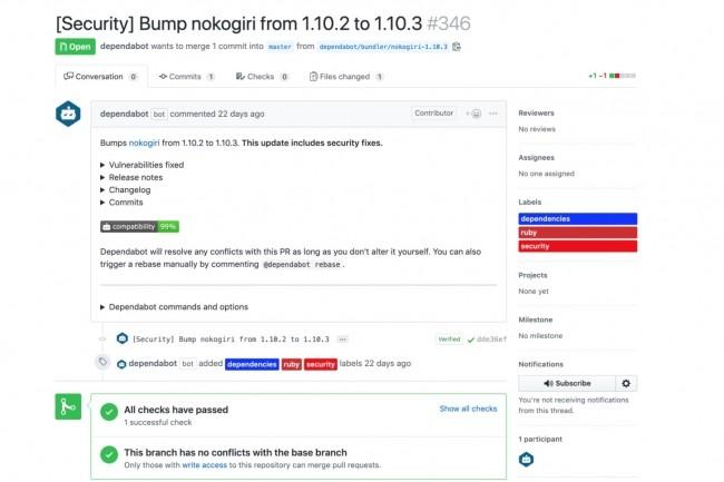 Plus de 70% des failles demeurant non corrigées après 30 jours, GitHub rachète Dependabot pour faire automatiquement les mises à jour de sécurité sur les pull requests. (Crédit : GitHub)