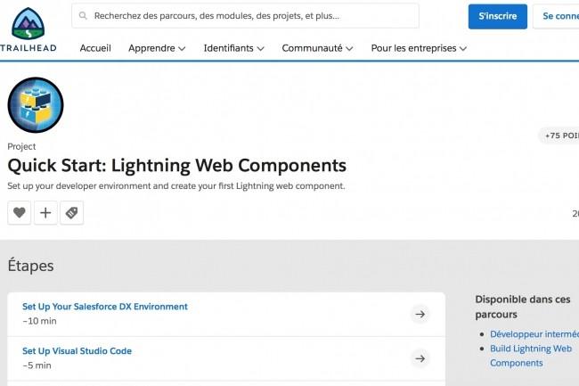 Sur son site de formation Trailhead, Salesforce propose différents modules de formation à ses composants Lightning Web. (Crédit : Salesforce)