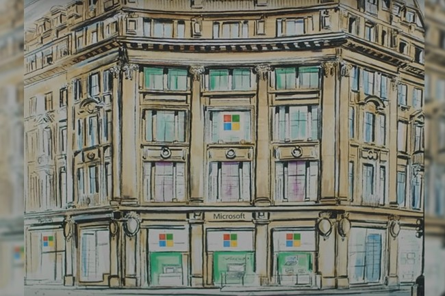 Vue d'artiste de la futur implantation du Microsoft Store de Londres. (Crédit : Microsoft)