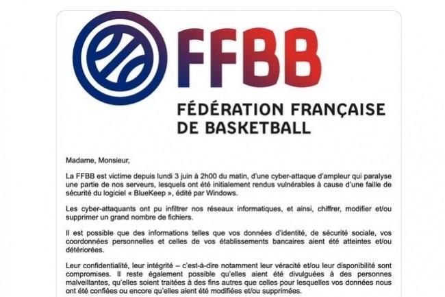 Une campagne d'emails a été lancée samedi 8 juin par la FFBB à l'adresse de ses licenciés pour les avertir d'une attaque ayant pu voler certaines données et coordonnées privées. (Crédit : FFBB)