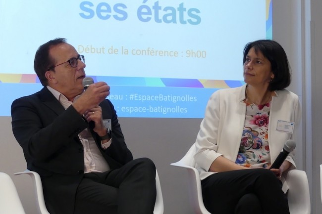 Florence d'Alche-Buc, professeur à Télécom ParisTech, et Gérard Guinamand, chief data officier chez Engie, lors de la matinée data du groupe industriel énergétique. (Crédit P.D.)