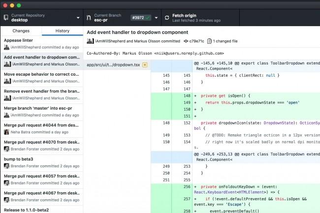 Entièrement reconçu avec le framework d'apps desktop Electron,GitHub Desktop permet aux développeurs d'étendre leur workflowau-delà dunavigateur web. (Crédit : GitHub)