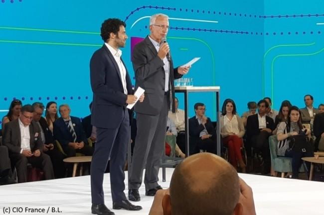 Guillaume Pépy, président du directoire de la SNCF (à droite), et Alexandre Viros, directeur général e-Voyageurs SNCF, ont ouvert la présentation de L'Assistant.