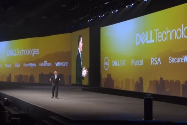 Michael Dell, CEO de Dell Technologies, lors d'une keynote durant le Dell EMC World 2017. (Crédit : Dell)