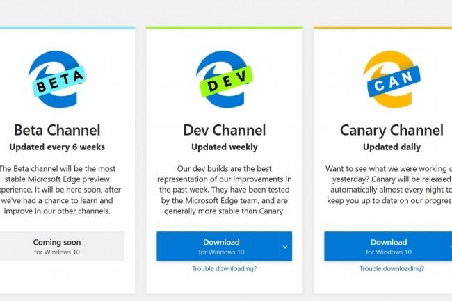 Le site Insider de Microsoft Edge permet de télécharger une première version non-stable du navigateur Edge tournant désormais sur Chromium. (Crédit : Microsoft)
