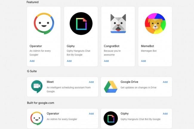 Google intègre Hangouts Chat à Dialogflow pour faciliter la création de chatbots. (Crédit : Google)
