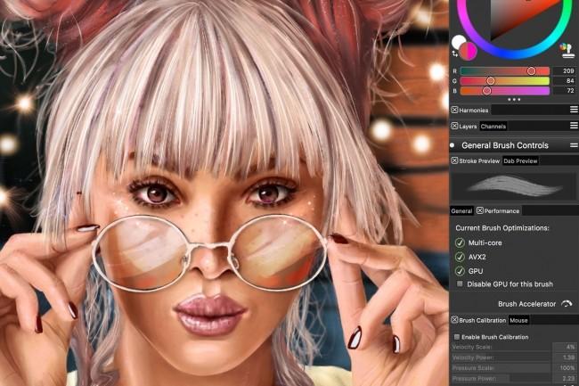 L'édition 2020 de Corel Painter mise sur l'accélération GPU. (Crédit Corel)