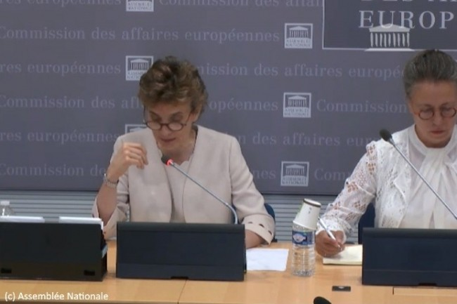 Marie-Laure Denis, présidente de la CNIL, a été auditionnée par la Commission des affaires européennes de l'Assemblée Nationale, présidée par Sabine Thillaye (à droite) le 27 juin 2019.