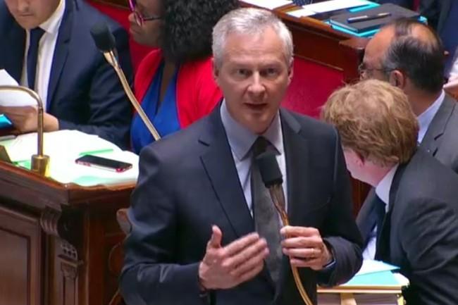 Bruno Le Maire au micro de l'Assemblée nationale le 28 mai dernier. (Crédit : Assemblée nationale)