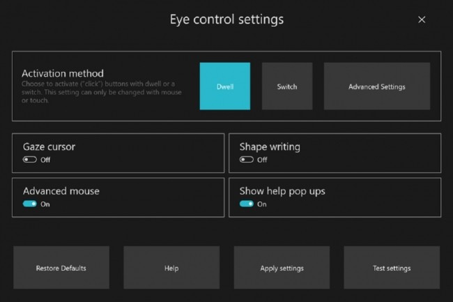 Microsoft a revu l'interface utilisateur de Eye Control. (Crédit Microsoft)