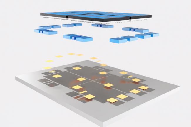 Pour pallier ses problèmes de gravure en 10 nm, Intel compte empiler des circuits pour proposer des fonctions additionnelles. (Crédit Intel)