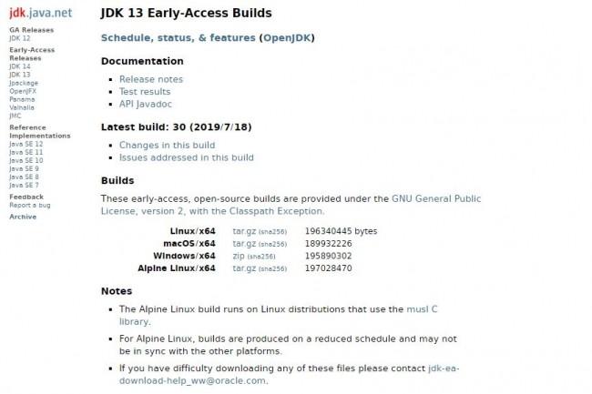 Les premières versions bêta du JDK 13 sont disponibles pour Linux, MacOS et Windows. (crédit : D.R.)
