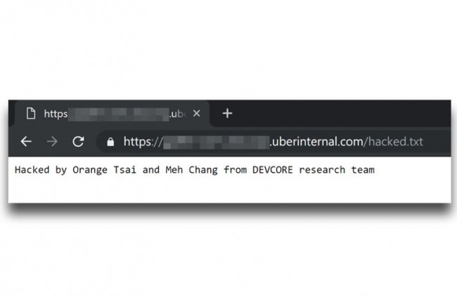 Capture d'écran de la compromission d'un serveur Uber sur lequel la solution VPN GlobalProtect de Palo Alto était installé. (crédit : Orange Tsai / Meh Chang)