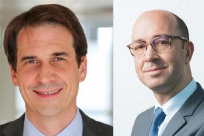 De gauche à droite : Adrien Perrin, directeur relations clients Partenariat La Banque Postale, et Frédéric Fernique, directeur relations clients Partenariat BPCE, chez CNP Assurances. (Crédit : D.R.)