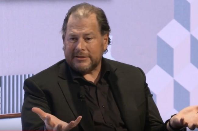 En janvier dernier déjà, il se disait que ClickSoftware allait être acquis par Salesforce, fondé et dirigé par Marc Benioff. (ci-dessus lors d'une intervention sur la conférence de Davos 2019/Crédit : D.R.)