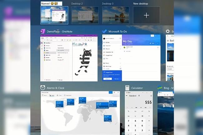 Avec la mise à jour de Windows au printemps 2020, il sera possible de renommer les bureaux, afin de pouvoir les organiser pour différentes tâches (travail, personnel, etc.). (Crédit : Microsoft)