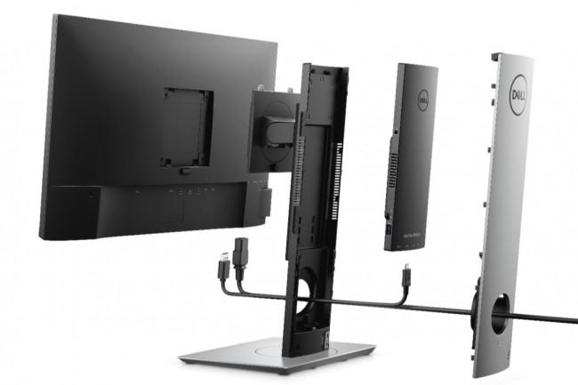 L'OptiPlex 7070 Ultra ne présente qu'un seul câble d'alimentation lorsqu'il est associé aux moniteurs USB-C de son constructeur. (Crédit : Dell)