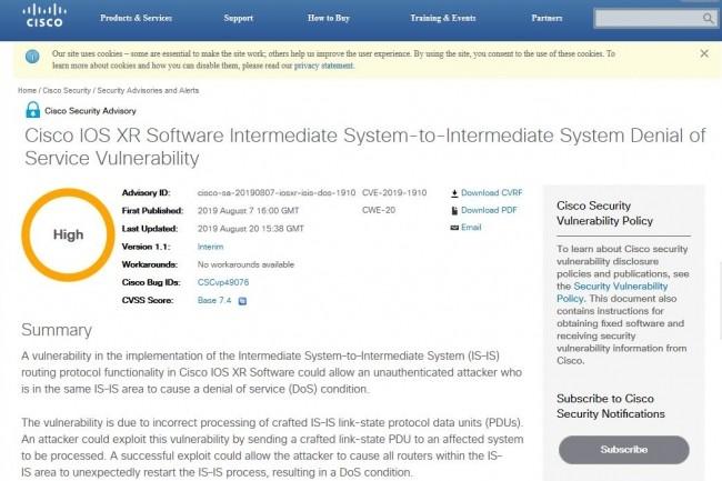 Si elle était exploitée, la faille CVE-2019-1910 identifiée dans l'OS réseau de Cisco pourrait provoquer un redémarrage inattendu de l'ensemble des routeurs d'une zone IS-IS, entraînant alors un déni de service. (Crédit : Cisco)