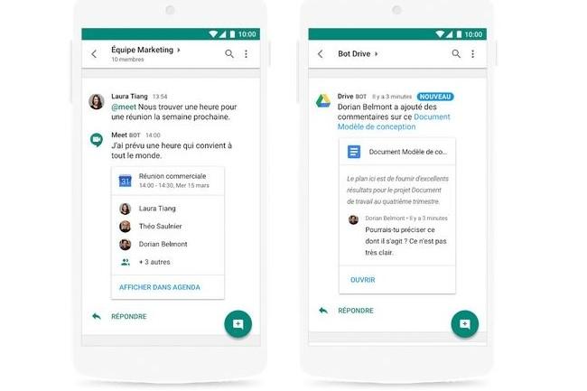 La messagerie instantanée Hangouts Chat permet aux clients de la G Suite d'importer des éléments depuis Drive et de collaborer dans Docs, Sheets ou Slides. (Crédit : Google)