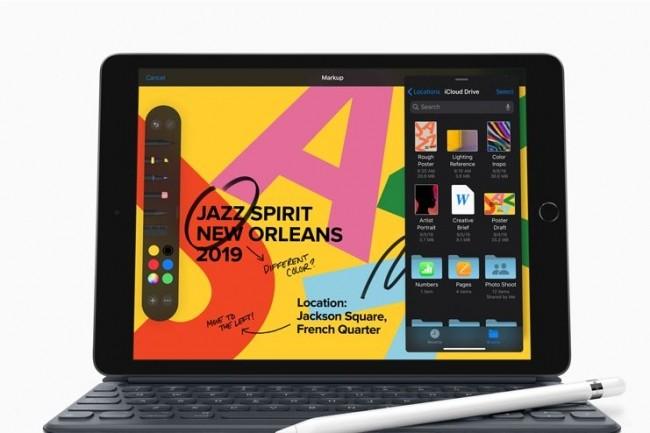 Outre sa plus grande surface d'affichage et la prise en charge d'un clavier complet, l'iPad 2019 7e génération se distingue pas son prix serré. (crédit. Apple)