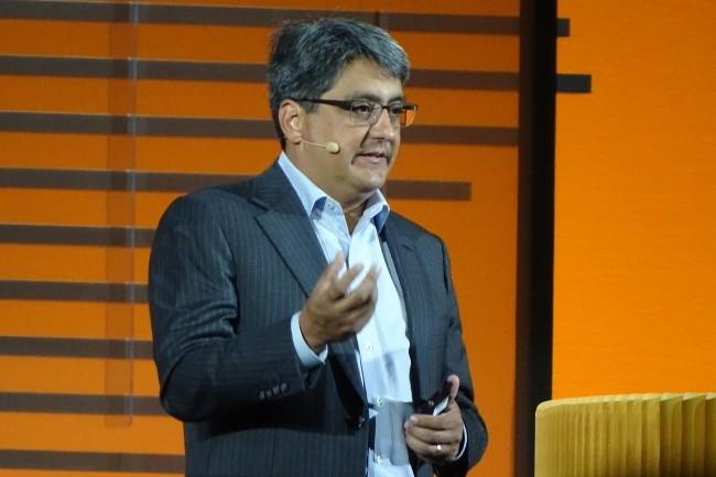 Steve Miranda, vice-président exécutif du développement des applications chez Oracle, est revenu sur les apports de l'IA et du machine learning dans les applications métiers cloud. (Crédit Photo: Jacques Cheminat)
