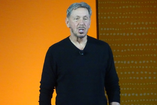In his last keynote, Larry Ellison touted the benefits of Netsuite's migration to OCI.  (Photo credit: Jacques Cheminat)