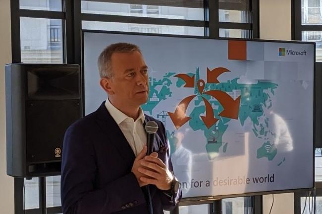 Carlo Purassanta, directeur général France de Microsoft a lancé la conférence de presse de rentrée de l'éditeur ce jeudi 19 septembre 2019 sur Paris. (crédit : D.F.)