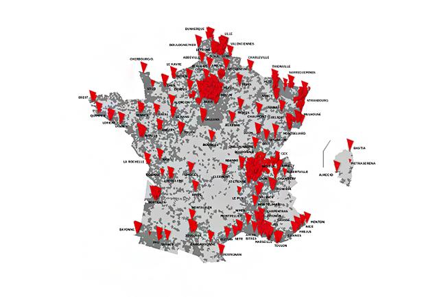 La carte des villes fibr�es par SFR en France. (Cr�dit : SFR)