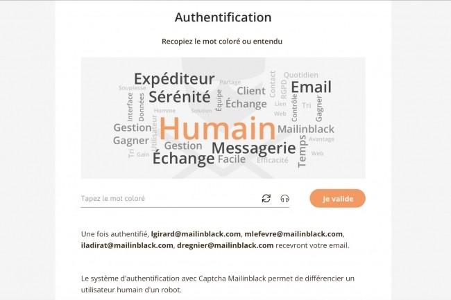 Mailinblack renforce les filtres de protection traditionnels de la messagerie avec des technologies IA de détection d'anomalies et une authentification humaine, ci-dessus. (Crédit : Mailinblack)