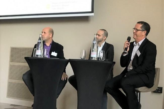 Parmi les intervenants de l'IT Tour Aix du 3 octobre 2019 (de gauche à droite) : Olivier Xicluna (responsable des achats publics IT du groupement hospitalier UniHA), Mehdi Baghdadli (DSI et CTO d'Allopneus.com) et Christophe Orieulx de la Porte (responsable Infrastructures et Services de Compass). crédit : LMI