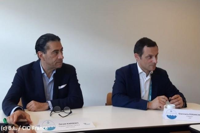 Gérald Karsenti (PDG de SAP France, à gauche) et Gianmaria Perancin (Président de l'USF) ont tenu une conférence de presse commune le 10 octobre 2019. (Crédit : CIO France/BL)