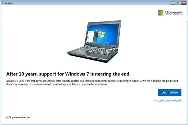 Microsoft relance les fenêtres d'avertissement de la fin du support de Windows 7 pour les pros. (Crédit Photo :DR)
