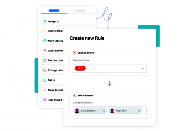 Un moteur de règles permet aux utilisateurs d'automatiser des étapes manuelles impliquant le routage de tâches et les workflows. (Crédit: Asana)