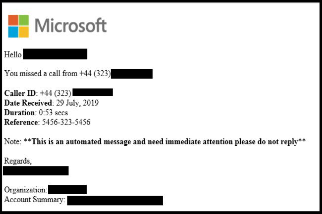 La campagne de phishing s'appuie sur des faux messages vocaux pour inciter les utilisateurs à aller sur un faux site. (Crédit Photo: McAfee)
